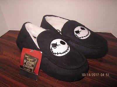NIGHTMARE BEFORE CHRISTMAS JACK DISNEY Moccasin Slippers House Shoes NEW