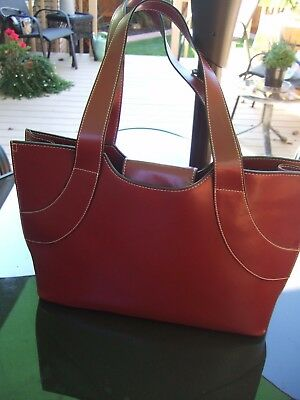 Red faux leather Franklin Covey Laptop Organizer /Tote Bag