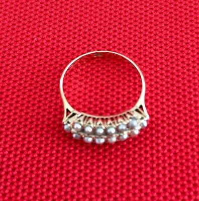 Vintage Antique Salt Water Pearl Cluster Ring 14K Solid Yellow Gold