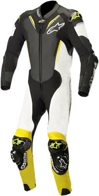Alpinestars ATEM v3 1-Piece Leather Riding Suit (Black/White/Flo Yellow)