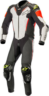 Alpinestars ATEM v3 1-Piece Leather Riding Suit (Black/White/Flo Red/Flo Yellow)