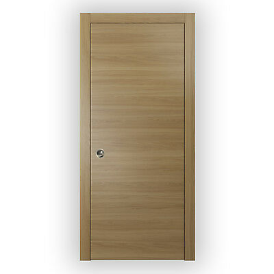 Planum 0010 Interior Pocket Wood Sliding Door Honey Ash with Frames, Pulls, Trim