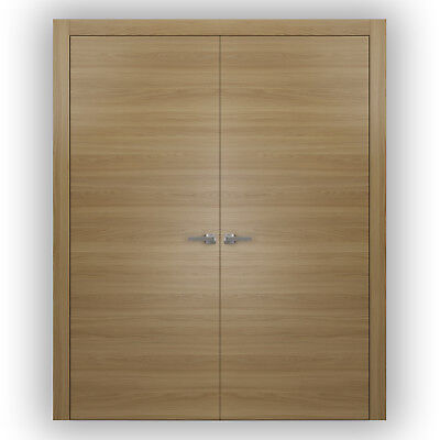 Planum 0010 Interior Double Doors Honey Ash with trims, frame, NO Pre-drilled