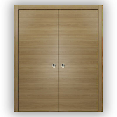 Planum 0010 Interior Double Pocket Sliding Closet Doors Honey Ash with Frames