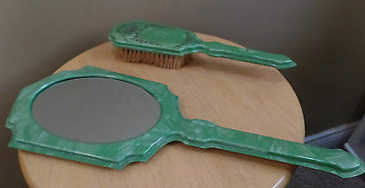 Vintage French JADE Green Celluloid MIRROR & BRUSH Dresser Vanity SET