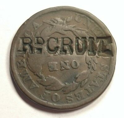 """1833 Coronet Head Large Cent Counterstamp """"Rd Cruit""""???"""