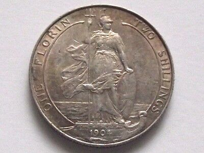 1904 Edward Vii Silver Florin/two Shillings Good Vf Please Judge For Yourselves