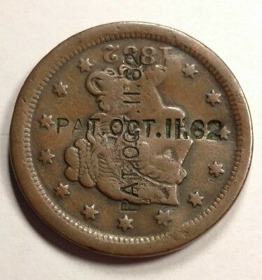 "1852 Braided Hair Large Cent Counterstamp ""Patent Oct 11 1862"" Civil War Patent!"
