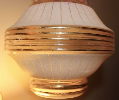 """Art Deco Lampshade Frosted Sugar Glass Gold Bands 4"""" Rim-Top Diameter 8"""""""