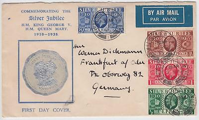 GB 1935 Silver Jubilee Scarce illustrated FDC Wimbledon CDS Cat £400
