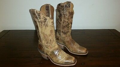 Women's Rustic Leather JUSTIN Wildwood BRL122 Cowboy Western Riding Boots 6.5B