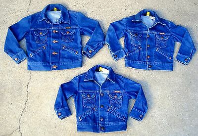 Lot of 3 Vtg 70's wrangler baby kids boys denim jacket Size 4,6,8 Made in USA