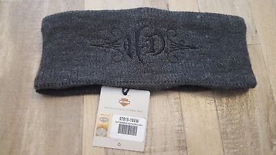 Harley Davidson Fleece-Lined Gray Knit HD Monogramed Ear Warmer Headband NWT