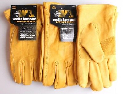 Wells Lamont Premium Cowhide Leather Work Gloves 3 Pairs Medium to X-Large NEW