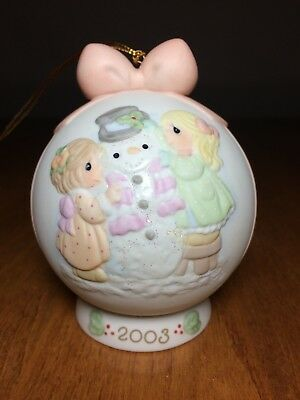 Precious Moments Annual 2003 Christmas Ornament with ball and stand