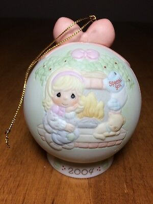 Precious Moments 2004 Christmas Ornament Annual Ball with Stand-wonderful!