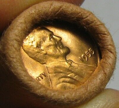 1955 P Obw Original Bank Wrapped Roll Bu Uncirculated Lincoln Wheat Cent Pennies