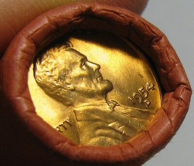 1954 D Obw Original Bank Wrapped Roll Bu Uncirculated Lincoln Wheat Cent Pennies