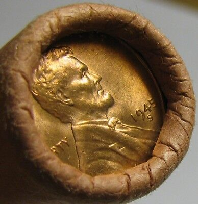 1945 S Obw Original Bank Wrapped Roll Bu Uncirculated Lincoln Wheat Cent Pennies