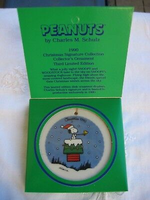 Peanuts Snoopy Ceramic Disc Christrmas Ornament 3rd Limited Edition Willits 90