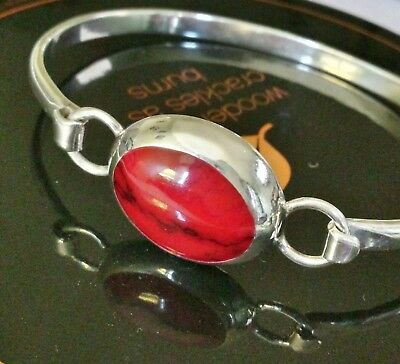 Mexico Sterling & Red Turquoise Bangle