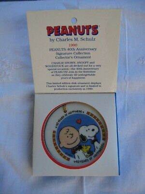 """Peanuts Snoopy Ceramic Disc Ornament """"40 Years of Happiness""""  Willits 90"""