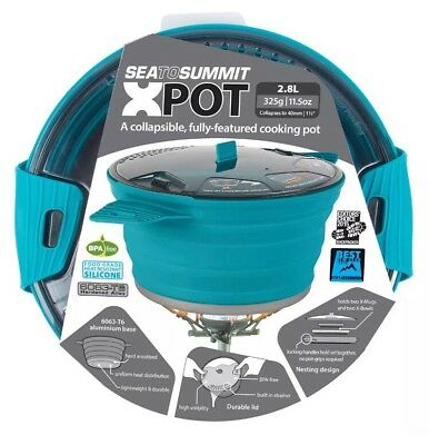 Sea to Summit X Pot 2.8L BLUE Folding & Lightweight for Backpacking Camping