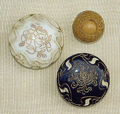 Antique Victorian Enamel Luster GLASS Picture Buttons