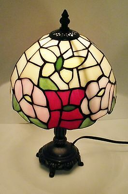 """Tiffany style stained glass 14""""table lamp butterfly / moth with flowers"""