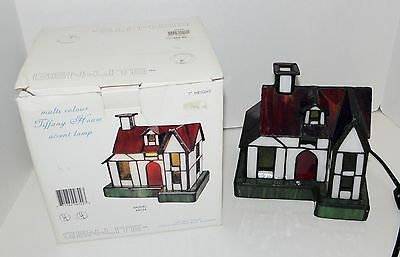 """Tiffany  stained glass House  7"""" accent lamp model 44024 Gen-lite"""