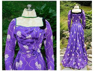 Antique Victorian SILK Printed Bustle TRAINED DRESS Gown Lace MUSEUM Deaccession