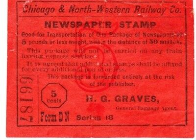 Newspaper Stamp, Chicago & Northwestern Railway Co,for Shipment Of Newspapers