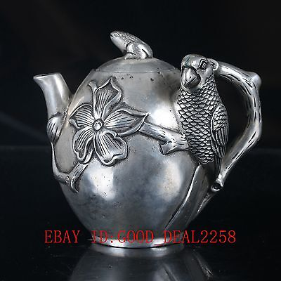 Old Silve Copper Hand Carved Flower & Bird  Teapot With Qing Dynasty mark BT035