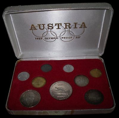 1964 Austria Olympic Coin Set In Case