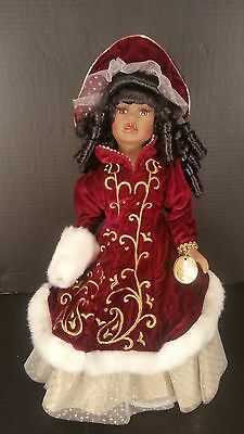 """Collectors Choice Genuine Fine Bisque Porcelain Doll Black African American 16"""""""