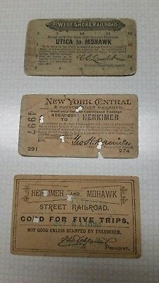 3 Railroad token tickets from 1890's