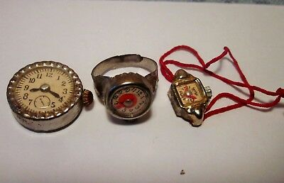 3 vintage miniature watches with moving hands, Japan, Cracker Jack/gumball