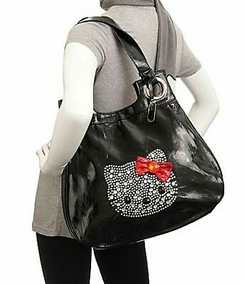 Sanrio Hello Kitty Black With Red Bow Large Hobo Tote Purse Bag