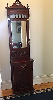Vintage Hall Stand with mirror,  drawer and key lockable cupboard