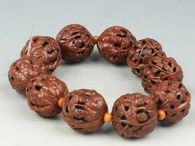 China Exquisite Hand-carved character carving walnut Bracelets