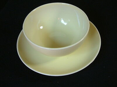 vintage Russel Wright Iroquois Faststand Gravy with attached underplate Yellow