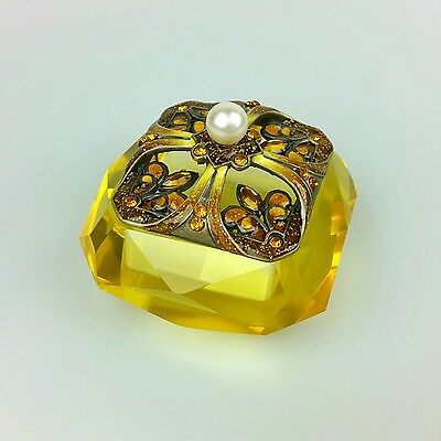 Vintage Look - Trinket Box - Yellow Glass With Faux Jewels & Pearl On Top