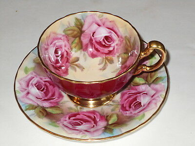 Vintage Aynsley Hand Painted Pink Cabbage Rose Cup & Saucer J.a.bailey
