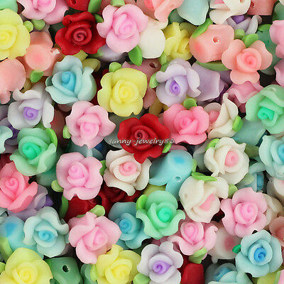 Wholesale 50pcs Mixed 10mm Polymer Fimo Clay Flower Loose Spacer beads