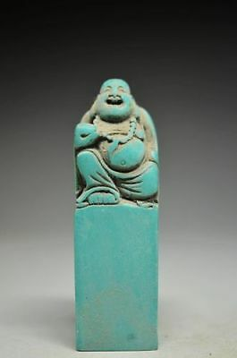 Unique Chinese Turquoise hand carved Maitreya Buddha seal QE15