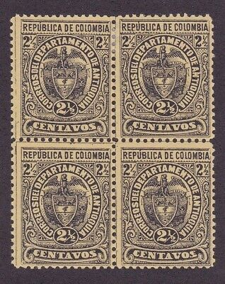 Colombia States Antioquia #74 block of 4, Error of color yellow and black