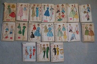 Lot of 17 Vintage Simplicity Sewing Patterns 1950's & 1960's