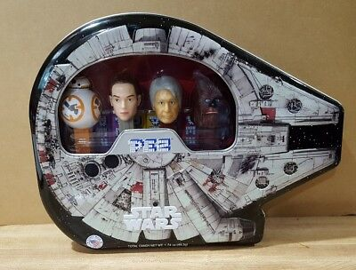 New 2017 Star Wars Millennium Falcon PEZ Tin S ~ BB-8, Hans Solo, Rey, Chewbaca