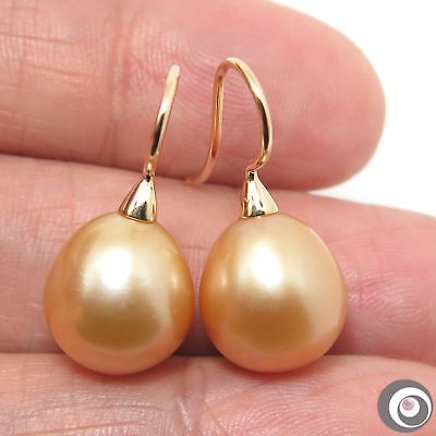 sale  GENUINE GOLDEN SOUTH SEA PEARL & SOLID 14K YELLOW GOLD EARRINGS #E1879 NR