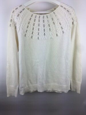 Ann Taylor LOFT Sweater Size Large Ivory Cable Knit Sequin Shoulder NEW